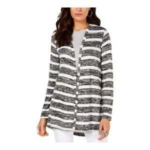 Style & Co. Womens Marled Striped Cardigan Sweater